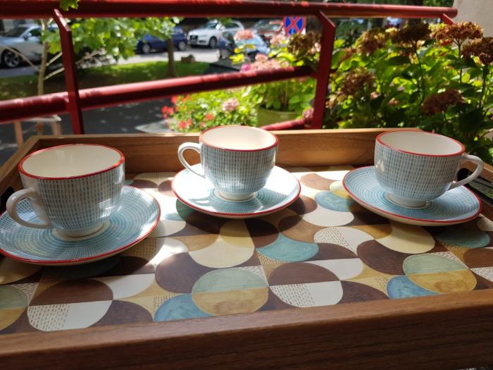 Set 6 cescute + farfurii de cafea By Zafferano, Made in Italy [3]