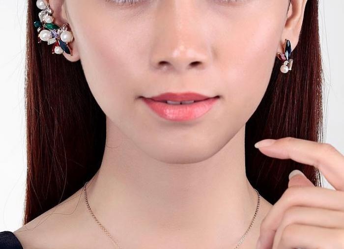 Cercei Borealy Crystal Pearl Ear Cuff Asimetrici Colours 3