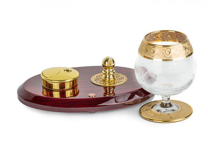 Set Încălzitor de Cognac de Lux by Credan si Butoni Gold Round by Credan 2