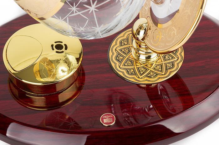 Set Încălzitor de Cognac de Lux by Credan si Butoni Gold Round by Credan 4