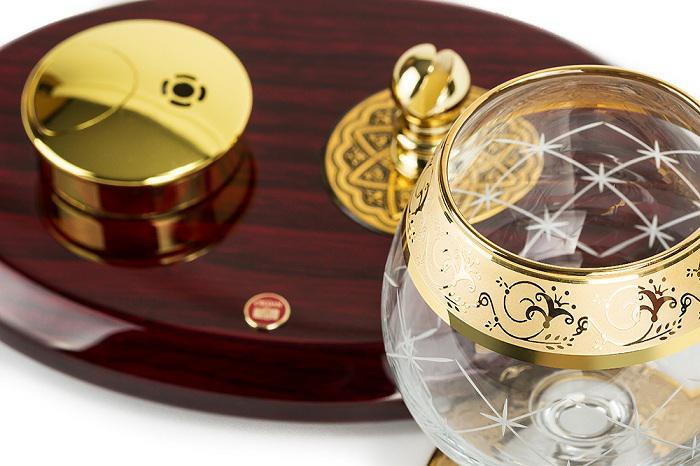 Set Încălzitor de Cognac de Lux by Credan si Butoni Gold Round by Credan 3