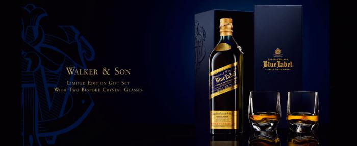 Johnnie Walker Blue Label set cu 2 Pahare Cristal 3