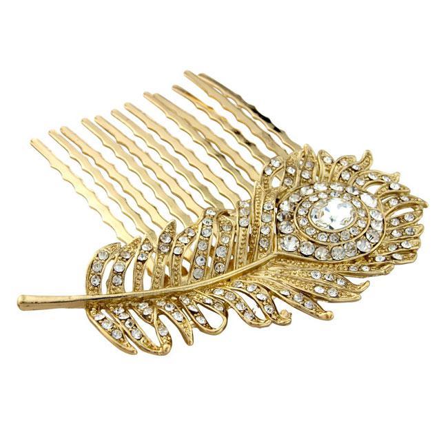 Agrafa Borealy Peacock Feather Gold 0