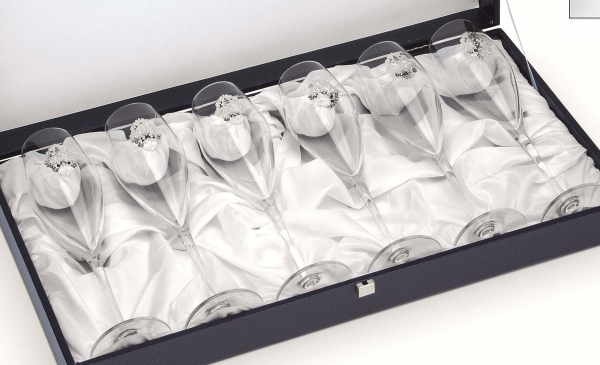Arabesque Spumante Set 6 Glasses Champagne Silver Plated by Chinelli - made in Italy-big
