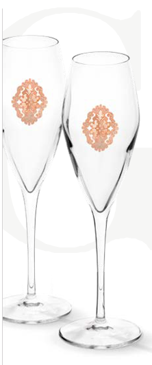 Arabesque Spumante Set 6 Glasses Champagne Pink Gold Plated by Chinelli - made in Italy-big