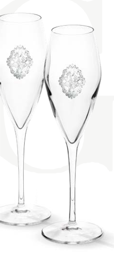 Arabesque Spumante Set 2 Glasses Champagne Silver Plated by Chinelli - made in Italy-big