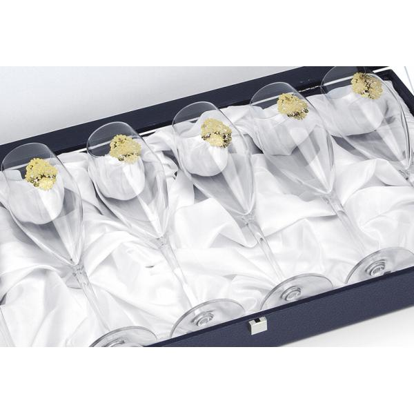 Arabesque Spumante Set 6 Glasses Champagne Gold Plated by Chinelli - made in Italy-big