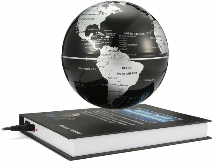 Atlas of Levitation 8 cm diametru Glob Pamantesc Silver 3
