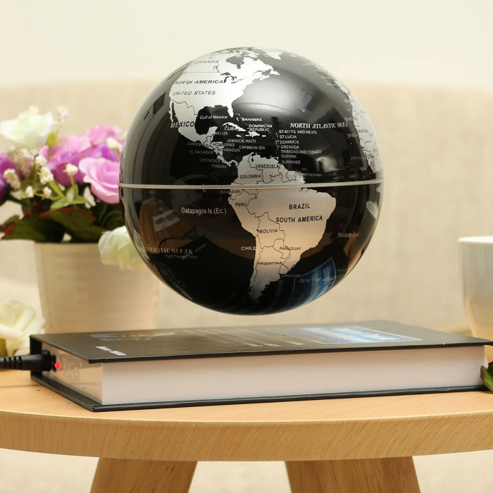 Atlas of Levitation 8 cm diametru Glob Pamantesc Silver-big