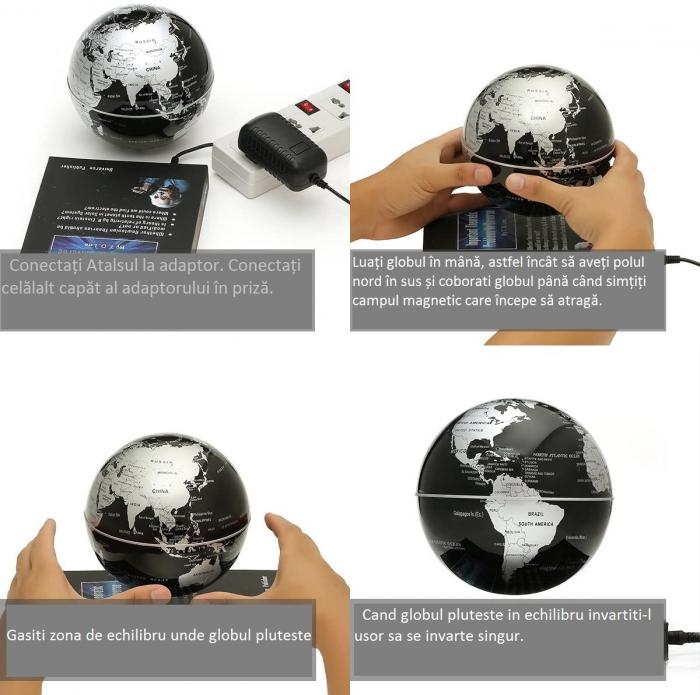 Atlas of Levitation 8 cm diametru Glob Pamantesc Silver 5