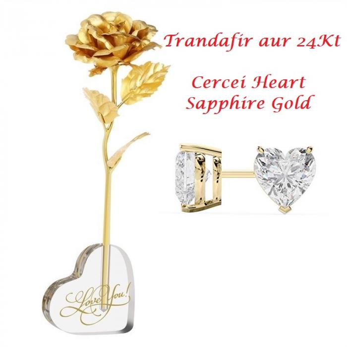 Aur 24k Trandafir & Suport Inima & Cercei Sapphire Heart 0
