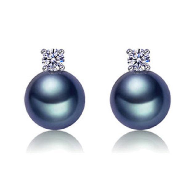 Cercei Borealy Argint 925 Perle Negre Naturale Solitaire-big