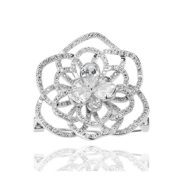 Set Borealy Simulated Sapphire Colier, Cercei, Brosa si Inel Camellia Luxury 11