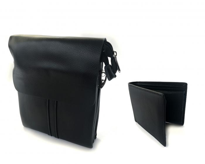 Borseta si portofel din piele naturala - personalizabile, negru 0