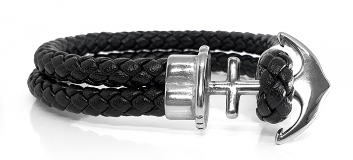 Bratara Anchor Black Leather by Borealy-big