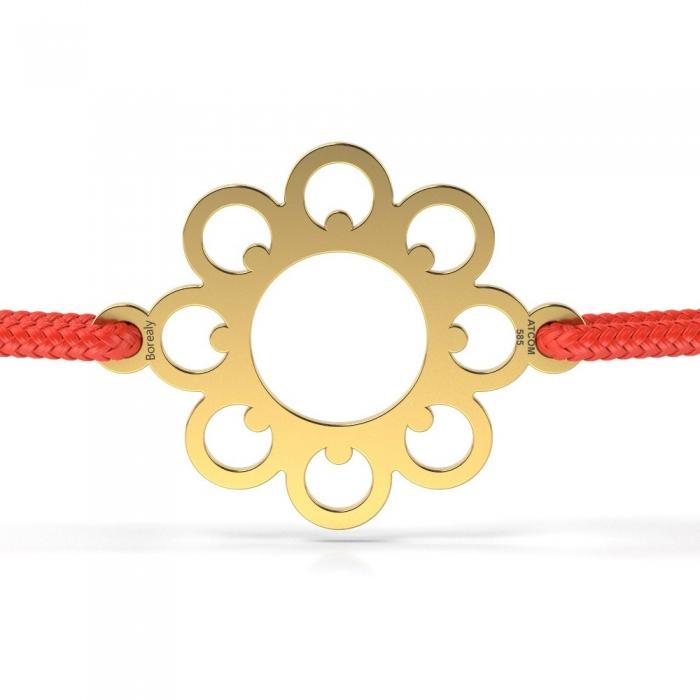 Bratara Floare din Aur galben 14 kt personalizabila-big