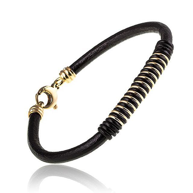 Brăţară Borealy Black Leather & Gold Accents-big