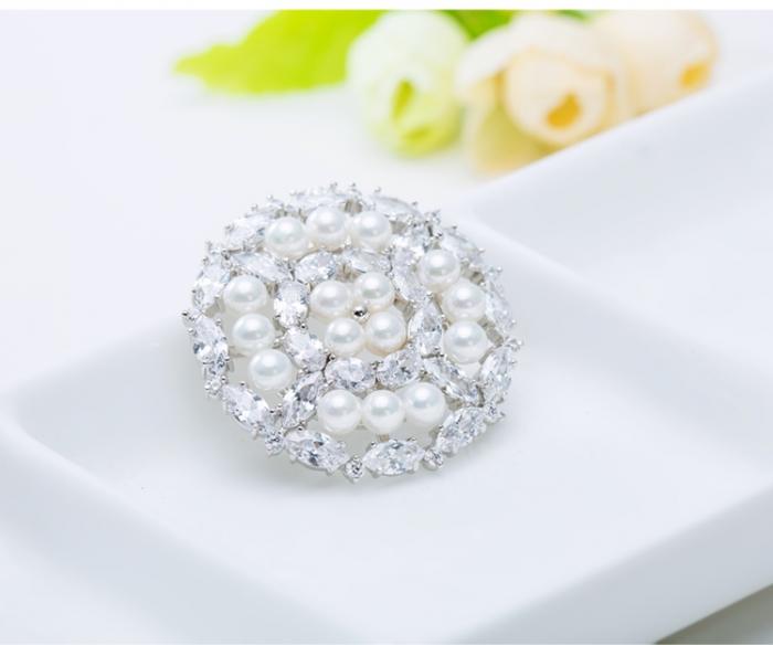 Broşă Borealy Crystal Round Pearls 3