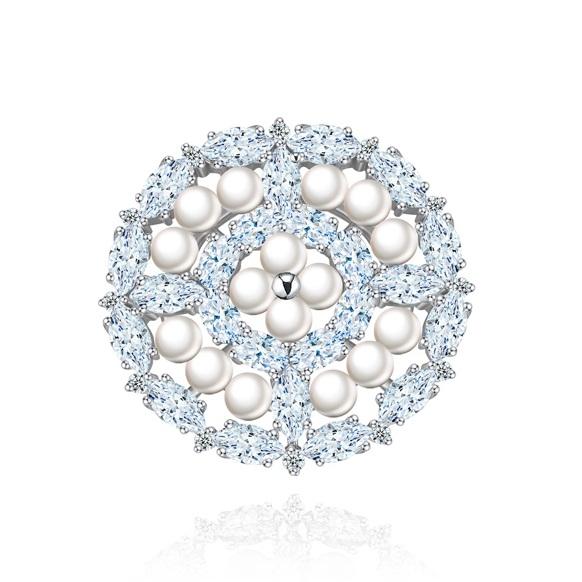 Broşă Borealy Crystal Round Pearls 0
