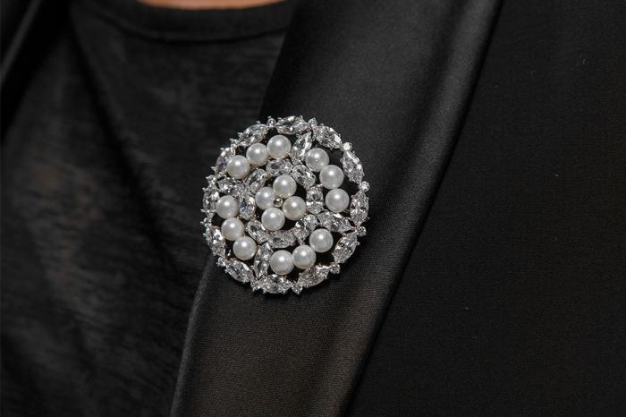 Broşă Borealy Crystal Round Pearls 2
