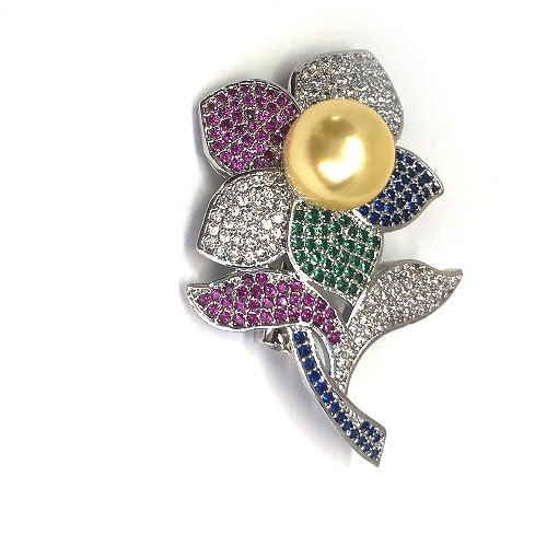 Broşă Pearl Flower Gold [1]