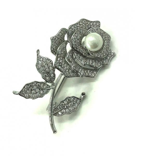 Brosa Rose Flower Perla Borealy & Esarfa Matase Borealy-big
