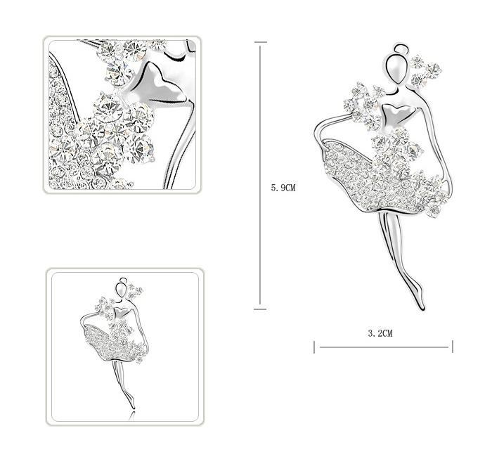 Broşă Balerină - White Swan by Borealy 1