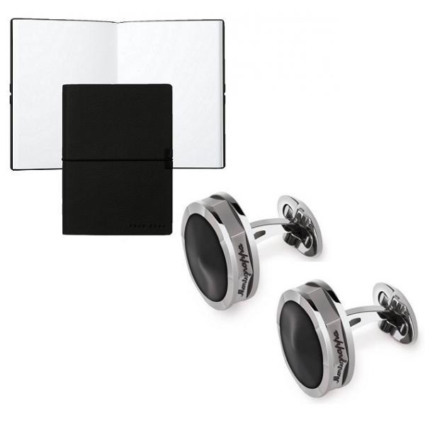 Set Butoni Nero Uno Silver Resin by Montegrappa si Note pad Black Hugo Boss-big