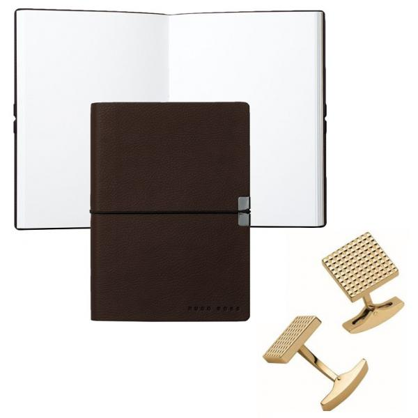 Set Butoni S.T. Dupont Diamond Head Square Yellow Gold si Note pad Burgundy Hugo Boss 0