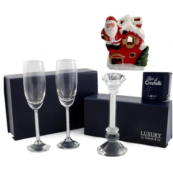 Cadou Crystal Toast Luxury by Valenti, made in Italy + Decoratiune de Craciun din Ceramica 0