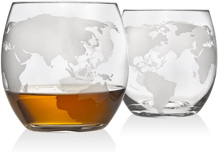 Cadou Decantor cu Patru Pahare Glob World & Suport Lemn [9]