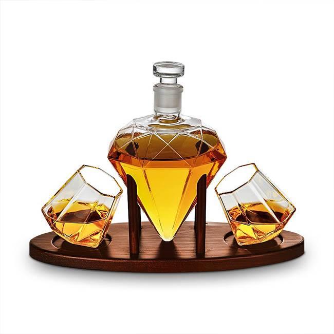 Cadou Decantor Diamant Sticla, 2 Pahare si Suport din Lemn + CADOU 4 Cuburi din Otel pt racire bauturi [1]