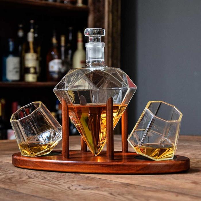 Cadou Decantor Diamant Sticla, 2 Pahare si Suport din Lemn + CADOU 4 Cuburi din Otel pt racire bauturi [4]