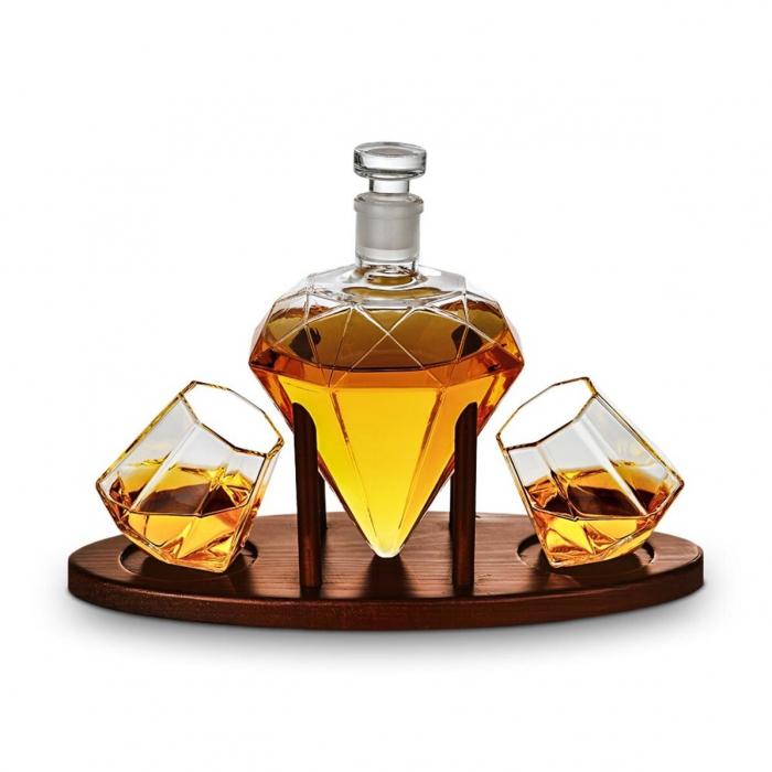 Cadou Decantor Diamant Sticla, 2 Pahare si Suport din Lemn + CADOU 4 Cuburi din Otel pt racire bauturi [3]