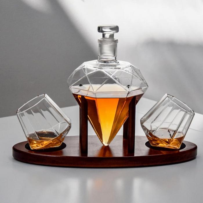 Cadou Decantor Diamant Sticla, 2 Pahare si Suport din Lemn + CADOU 4 Cuburi din Otel pt racire bauturi [2]