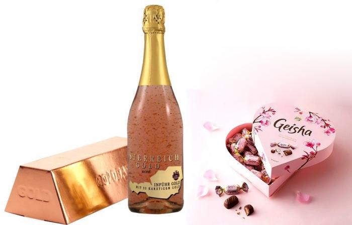 Cadou Rose Gold Luxury Şampanie - cu foiţă de aur 23 karate & Bomboane Geisha 1