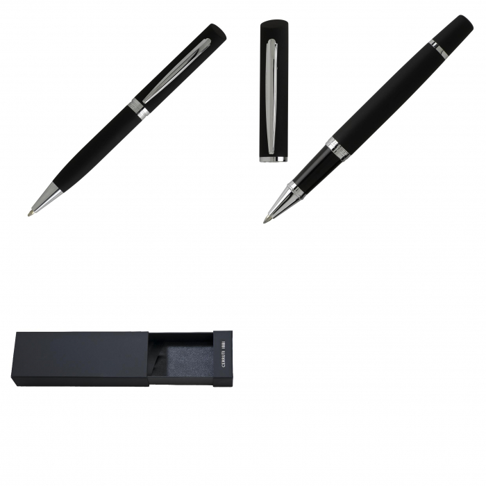 Set Soft Black Ballpoint pen & Rollerball pen Cerruti 1881 2