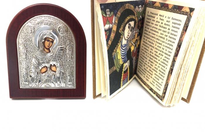 Cadou Icoana Argint 925 Maica Domnului si Carte de Rugaciuni 3