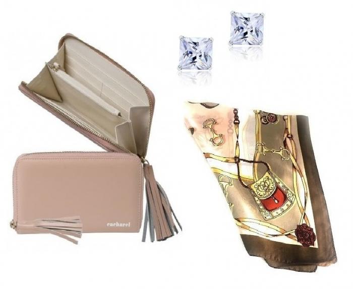 Cadou Pompadour Rose Portofel Cacharel, Cercei One Diamond Square Princess si Esarfa Borealy [0]