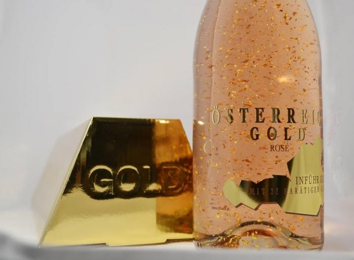 Cadou Rose Gold Luxury Şampanie - cu foiţă de aur 23 karate & Bomboane Geisha-big