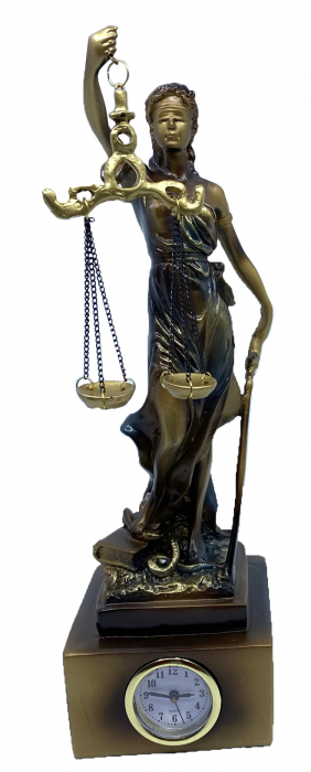"""Cadou statuetă """"Timpul Justiţiei"""" - 33 cm inaltime + CEAS [0]"""