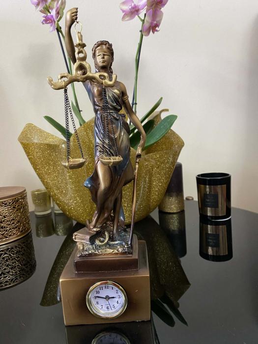 """Cadou statuetă """"Timpul Justiţiei"""" - 33 cm inaltime + CEAS [4]"""