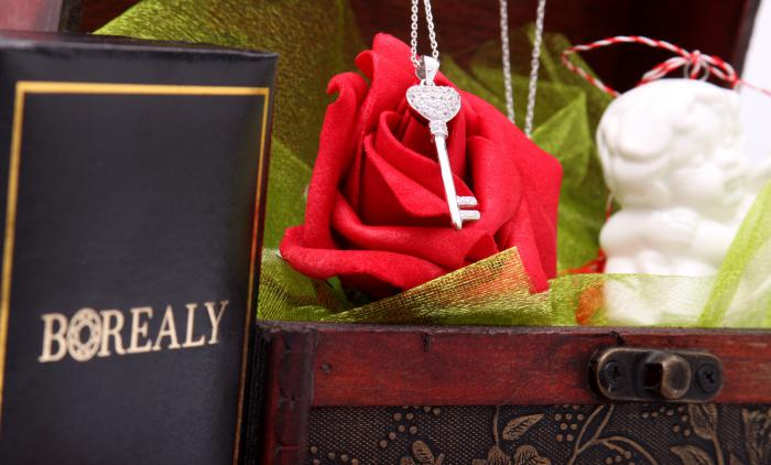 Cadou Angel of Love & Key Pendant Argint 925 6