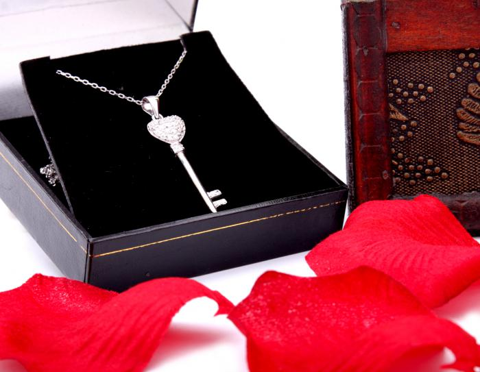 Cadou Angel of Love & Key Pendant Argint 925 2