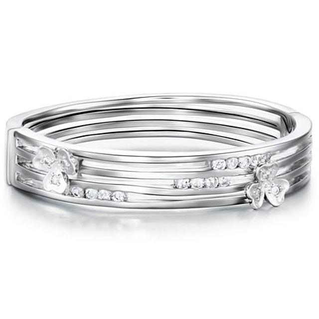 Brăţara Stylish Flower Simulated Diamond Bangle-big