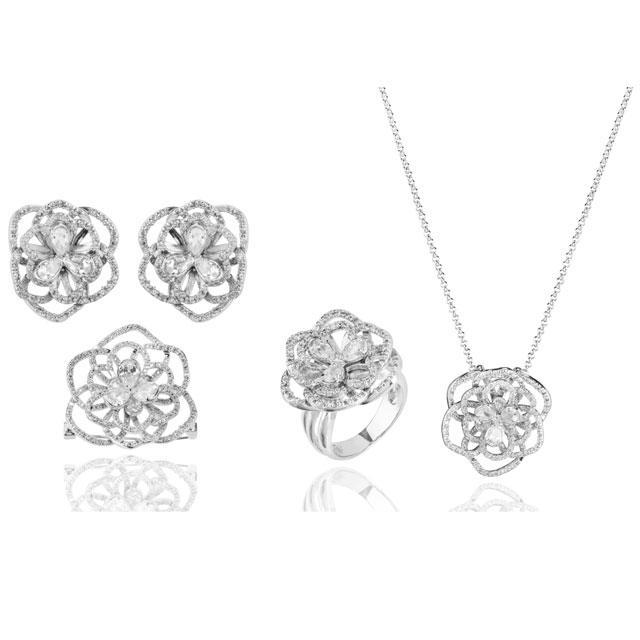 Set Borealy Simulated Sapphire Colier, Cercei, Brosa si Inel Camellia Luxury 0