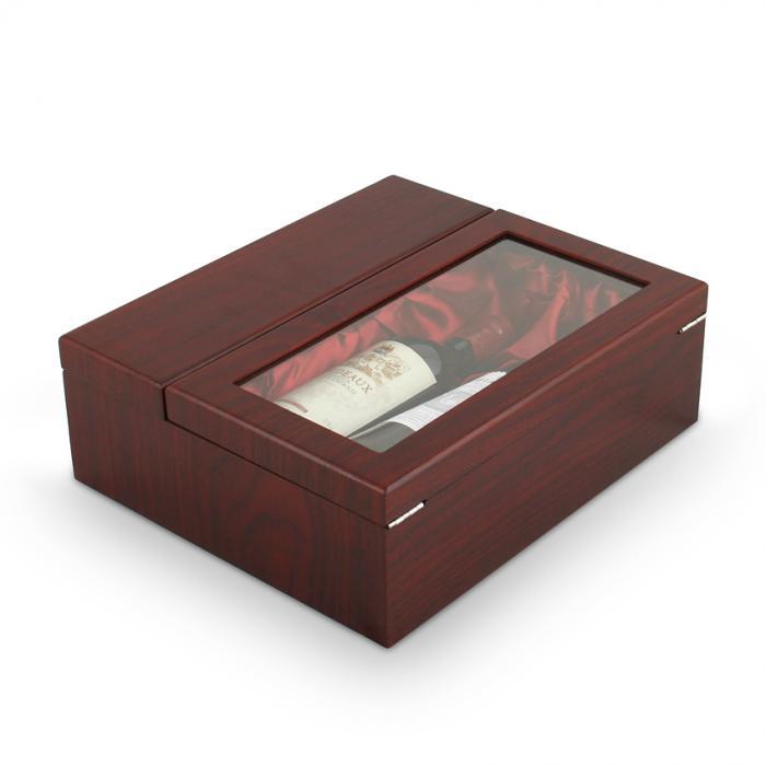 Cutie dubla de vin din lemn cu accesorii si capac transparent 1