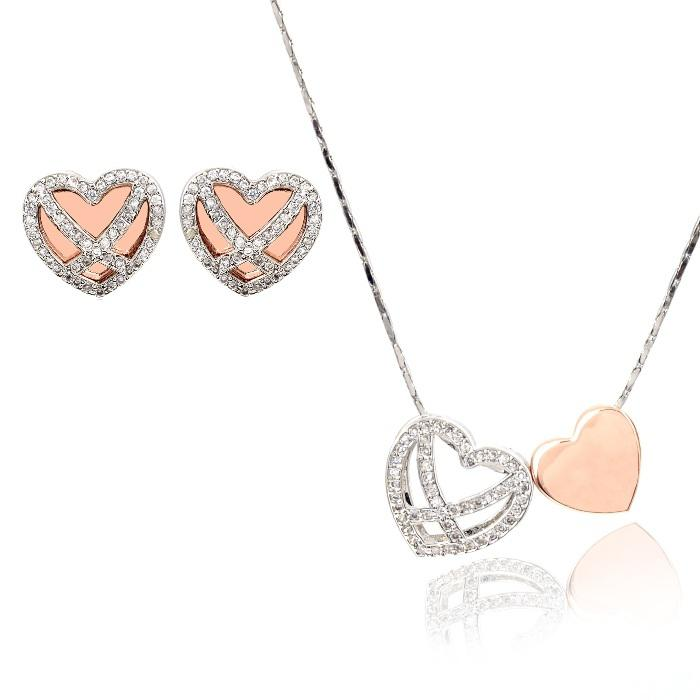 Diamond Heart White & Pink Set Medalion s Cercei y Borealy 0