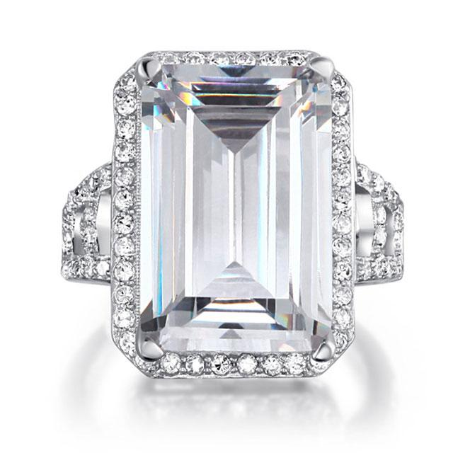 Inel Borealy Argint 925 Simulated Diamond 8.5 Carat Emerald Cut Anniversary Marimea 8-big