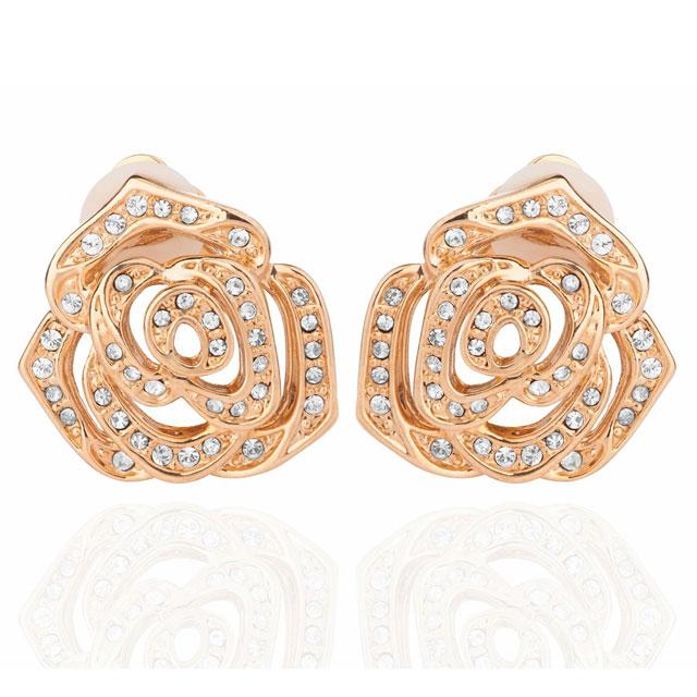 Cercei Rosa Borealy Yellow Gold CLIPS-big